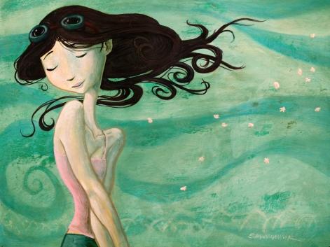 Girl in the wind RGB 9x12